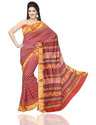 Unnati Silks Women Chanderi Sico Printed Orange Saree