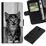 WonderWall Wallpaper Fancy Picture Image Wallet Flip Leather Pouch Card Slots Black Hard Case Cover Protection For Samsung Galaxy Note 4 SM-N910 - kitten cute wink meow black white pet