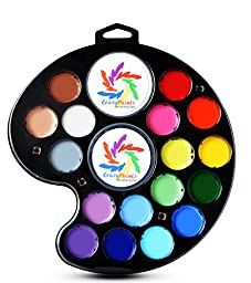 Face Painting Artists Palette - Kit with 18 Best Colors - Vegan Body Paint Supplies for Professional and Novice - Works With Stencils, Sponges, and Brushes to Make Great Designs