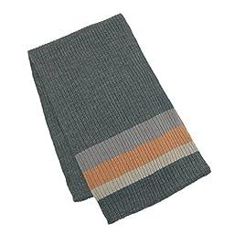 CTM® Mens Wool Blend Striped Winter Scarf, Grey