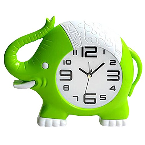 Retro Creative Elephant Noiseless Alarm Clock Kids' Birthday Gift Green