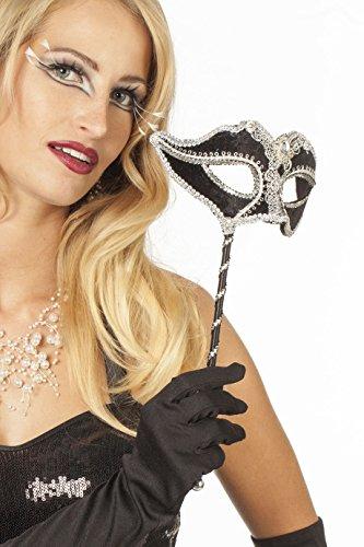 Jannes 34380 Deluxe Venezianische Maske mit Stab Schwarz/Silber