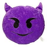 32cm Emoji Devil Emoticon Purple Round Cushion Pillow Stuffed Plush Soft Toy