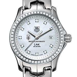 Brown University TAG Heuer Watch - Women's Link Watch with Diamond Bezel at