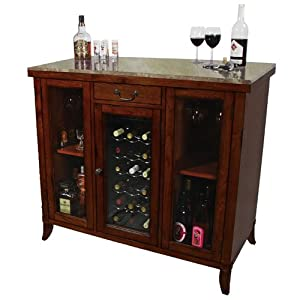 Cherry wine cooler wine cabinet bar wood granite top home kitchen Home bar furniture amazon