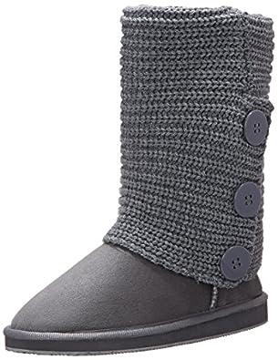 Womens Rib Knit Sweater Crochet Boots (6, Grey Triple 91006)