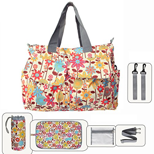 Damai Floral Designer Diaper Tote Bags (Orange Flower)