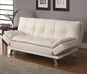 Contemporary white adjustable futon sofa bed for Sofa bed amazon uk