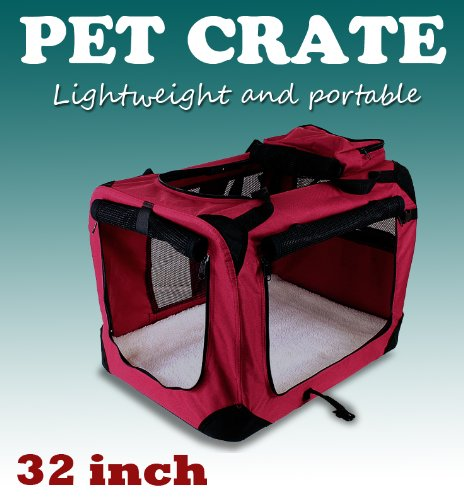 New Large Dog Pet Puppy Portable Foldable Soft Crate Playpen Kennel House - Red front-1002357