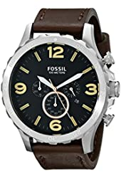Fossil Men's JR1475 Nate Chronograph Leather Watch - Brown