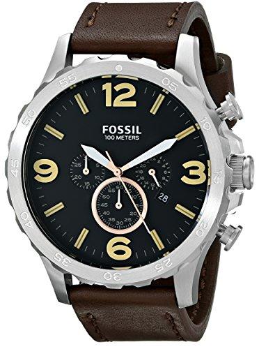 Fossil JR1475 - Reloj con correa de cuero, para hombre, color negro / marrón