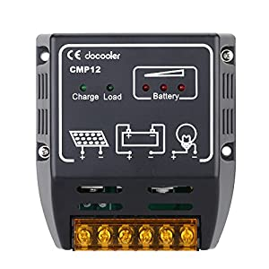 Docooler 10A 12V/24V Solar Charge Controller Solar Panel Battery Regulator Safe Protection by Docooler