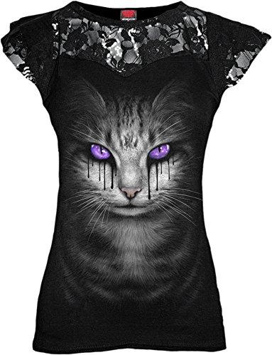 Spiral-lacrime di gatto-Donna Pizzo A Strati Top Con Maniche, colore: nero Black Small