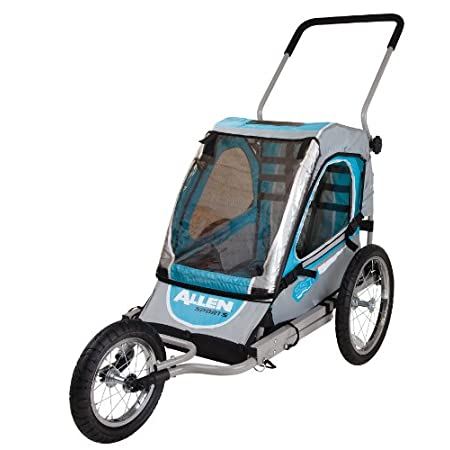 "The Allen SST1 1-Child Jogger and Bike Trailer offers the perfect 2 in 1 product for the active parent. The item quickly sets up as either a fully functional fixed wheel jogger or bike trailer right out of the box. 16"" rear wheels, and 12"" front wh..."