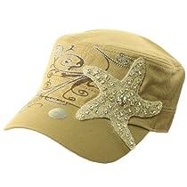 Ladies Summer Bling Bling Crystal Starfish Patch Cadet Castro GI Cap Hat Khaki