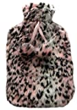 Ladies Pink Leopard Print Soft Plush Hot Water Bottle & Cover