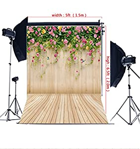 Photography Backdrops 200*150cm(6.5*5ft) Pale Yellow Flowers Butterfly Wall Background Easter Photography Backdrops WL-25