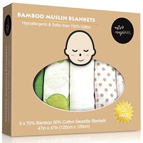 MagicMIL Swaddle Blanket, Thoughtful 5 Pack, Extra Soft Bamboo, Gender Friendly - Generous 47 Inch Size - 1