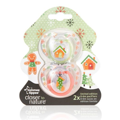 Tommee Tippee Closer to Nature Pacifier 2-Pack, 6-18 Month Limited Edition Gingerbread