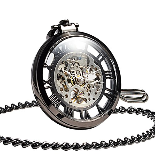 ManChda Steampunk Mechanical Black Skeleton Big Size Hand Winding Pocket Watch Open Face Fob for Men