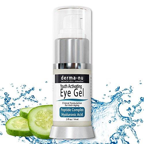 Crema Occhi Antirughe di Derma-nu - Trattamento Gel Occhi Anti Invecchiamento per Occhiaie, Gonfiore e Rughe - Formula al Collagene e Peptidi - Acido Ialuronico & Amminoacidi - 14 g