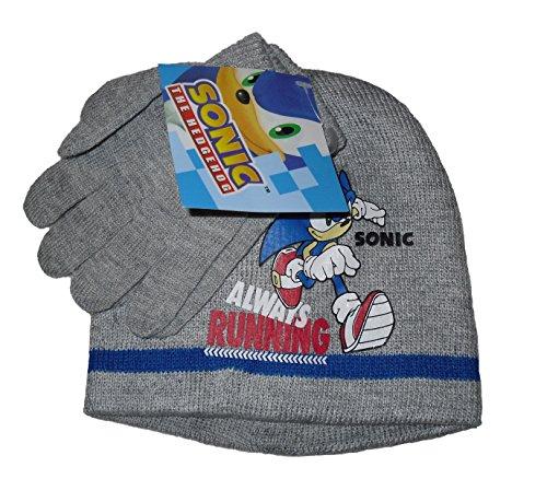 Boys Beanie Cappelli Guanti Sonic the Hedgehog 2-8anni Grey 4-8 Anni =54 cm
