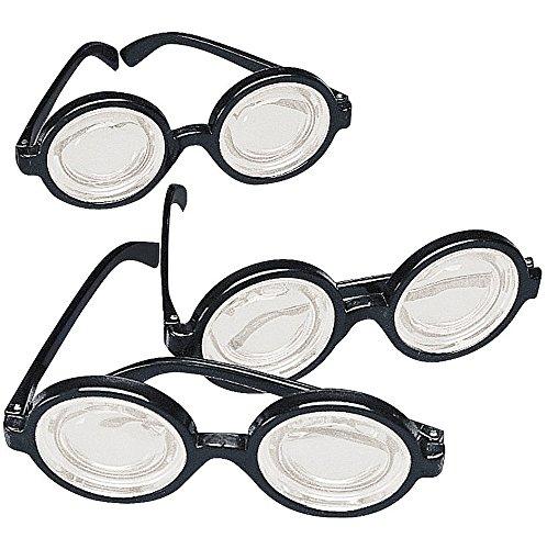 Black Frame Nerd Glasses (12 Pack) Plastic. Costume Party Favors