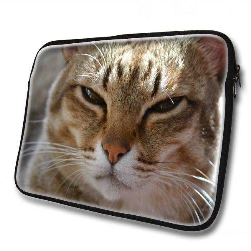 Katzen 10053, Braune Katze, Wasserfest Neopren Weich Zip Gehäuse Computer Sleeve Laptop Tasche Schutzhülle mit Reißverschluss und bunte Design für 14