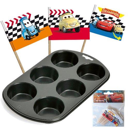 Walt Disney Cars Deko Fähnchen + Backform für Muffins 6er
