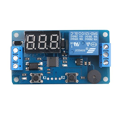 Industry Park 12V Display LED Timer Relay Programmable Digital Readout Module Delay Switch Board with Car Buzzer(2 buttons) (Digital Timer 12v compare prices)