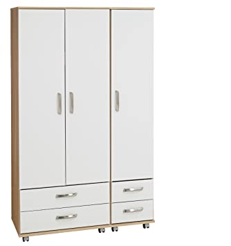 Treat Your Home Rebello 3 Door and 4 Drawers Wardrobe, Wood, White Carcuss/Black Gloss Fronts