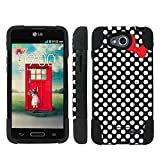 Mobiflare LG Optimus LGL90 L90 Black/White Polk-a-Dots with Bow Armor Kick Grip