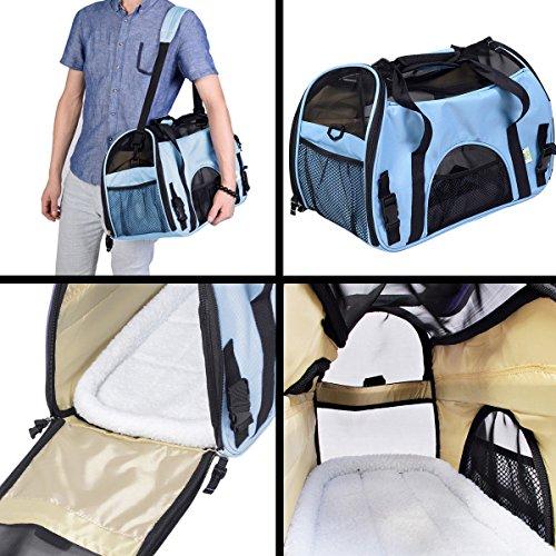 Super buy Large Pet Carrier OxFord Soft Sided Cat/Dog Comfort Travel Tote Shoulder Bag (Blue)
