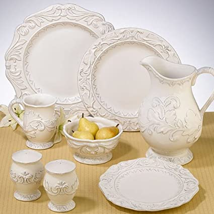 Christmas Tablescape Décor - Firenze ivory ceramic dinnerware by Certified International