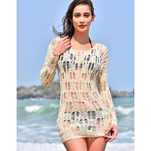 b3e4635443e9d MG Collection Beige Boho Chic Fashion Beach Swimsuit Cover Up with Pockets