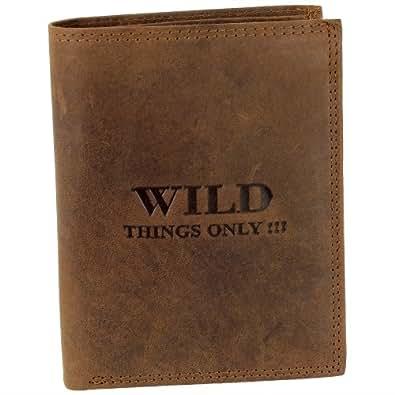 Echtleder Geldbörse Geldtasche braun WILD THINGS ONLY!!! Fettleder! 1A