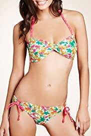 Sketch Floral Twisted Front Bandeau Bikini Top [T52-1437B-S]