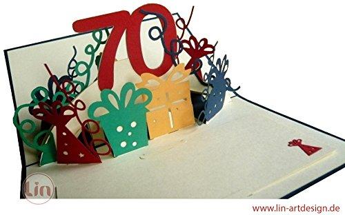 Pour ses 70 ans, envoyez-lui une belle carte d'anniversaire personnalisée avec son âge. LIN – 3D POP UP carte de voeux joyeux anniversaire Carte.