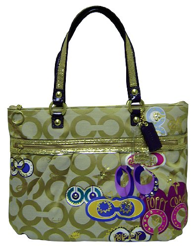 Coach Limited Edition Poppy Pop C Applique Signature Glam Bag Tote