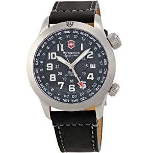 Stainless Steel Airboss Automatic GMT Black Dial Leather Strap