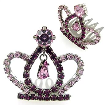 Crystalmood Girls Purple Swarovski Crystal Mini Tiara Comb