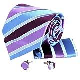 H5063 Purple Striped Valentines Gift Business Presents Silk Tie Cufflinks Hanky Set 3PT By Y&G