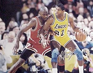 Magic Johnson Autographed Hand Signed Los Angeles Lakers 16x20 Photo (vs. Michael...