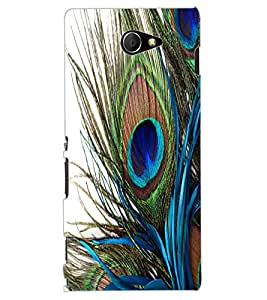 ColourCraft Peacock Feather Design Back Case Cover for SONY XPERIA M2