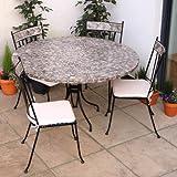 Round Mosaic Garden Furniture Set for 4 - Speckled Grey