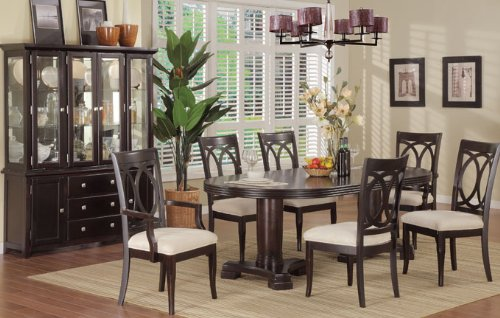 Cheap Inland Empire Furniture Elegant Brown Leather Seven Piece Dining Set with Buffet (B008R9ACTA)