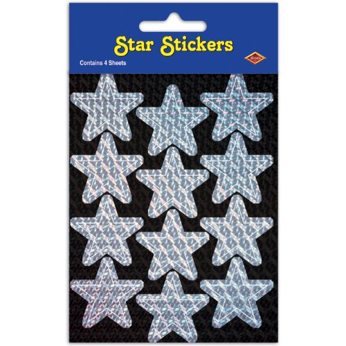 Prismatic Star Stickers (silver) Party Accessory  (1 count) (2 Shs/Pkg)