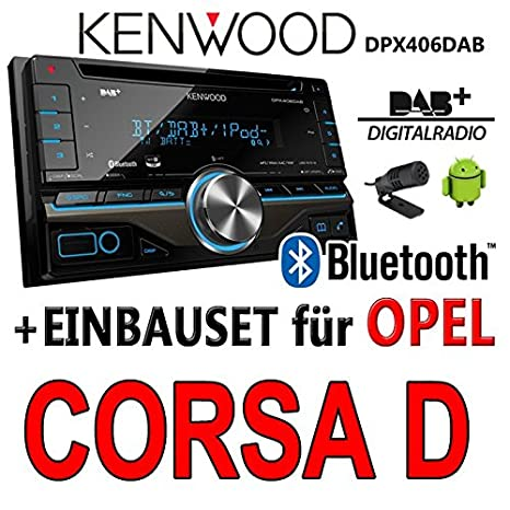 Opel corsa d, noir-dPX406DAB 2DIN bluetooth kenwood autoradio dAB uSB avec kit de montage