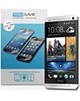 Yousave Accessories Pack de 3 Films de protection d'écran + Tissu de polissage en micro fibre + Demande de carte pour HTC One