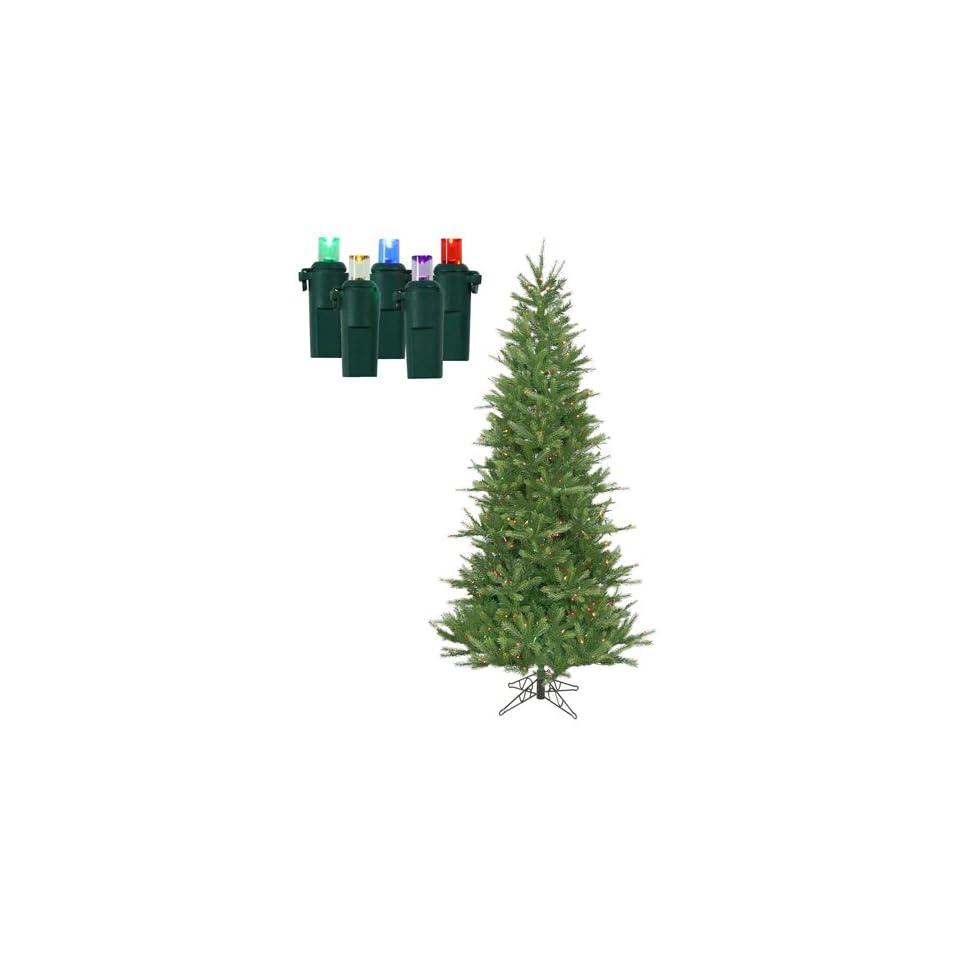 7.5 Pre Lit Tiffany Spruce Slim Artificial Christmas Tree   Multi LED Lights